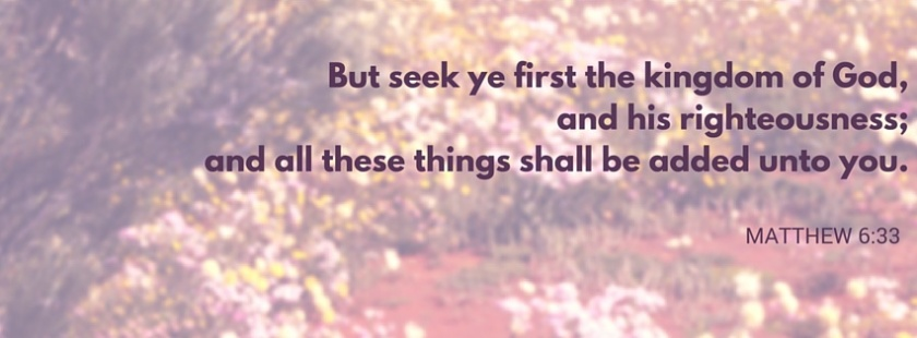 But seek ye first the kingdom of God, and his righteousness; and all these things shall be added unto you.
